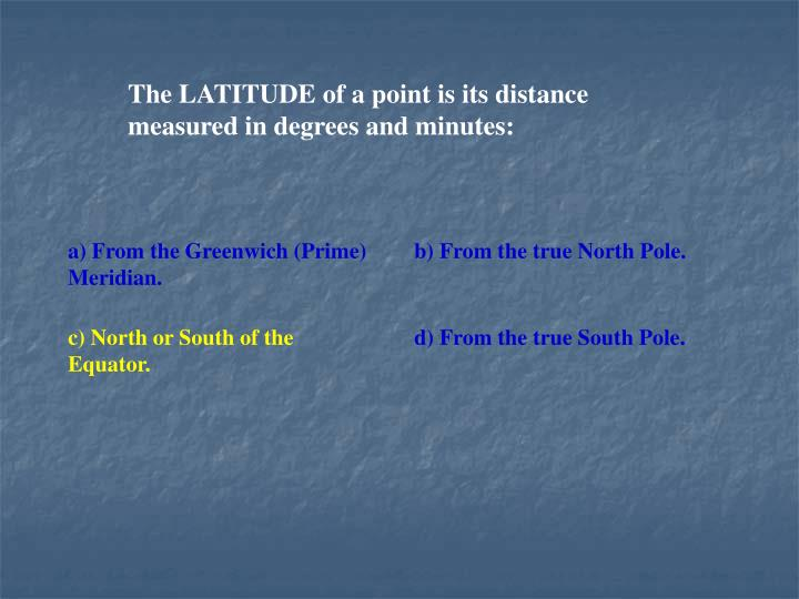 The LATITUDE of a point is its distance measured in degrees and minutes:
