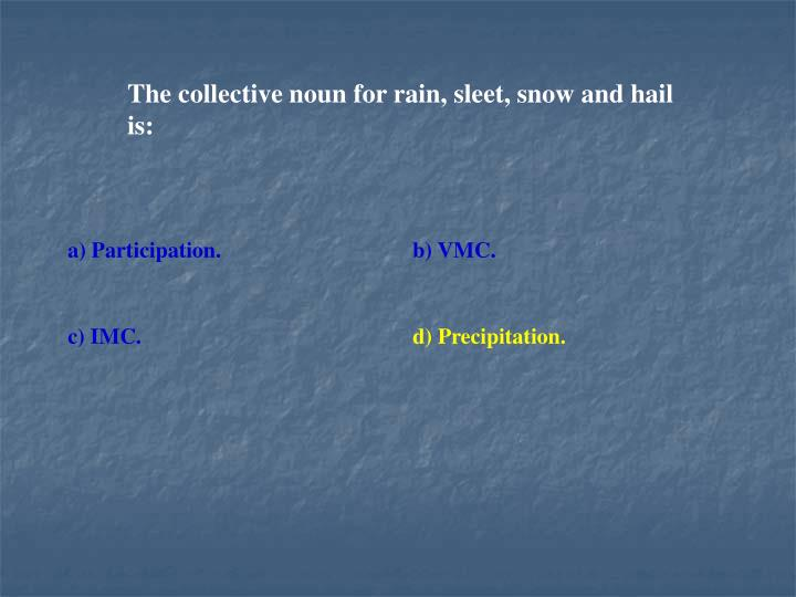 The collective noun for rain, sleet, snow and hail is: