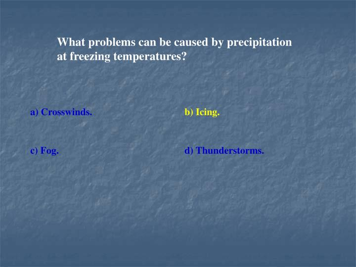 What problems can be caused by precipitation at freezing temperatures?