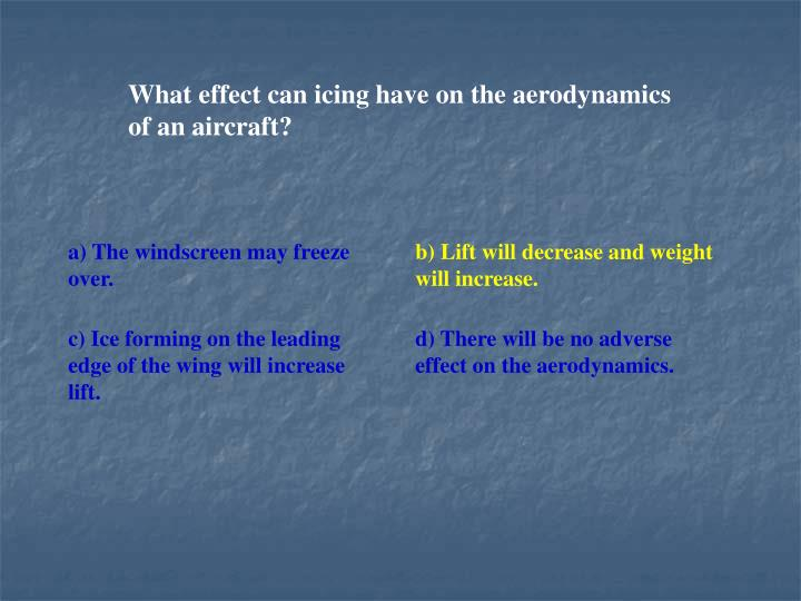 What effect can icing have on the aerodynamics of an aircraft?