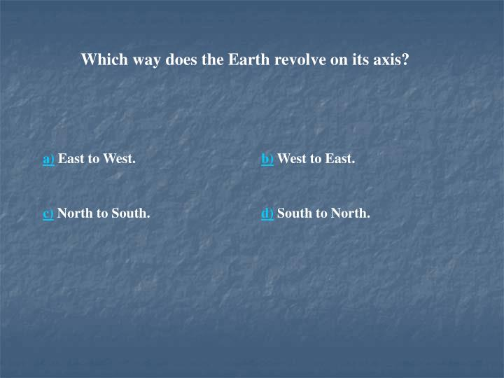Which way does the Earth revolve on its axis?