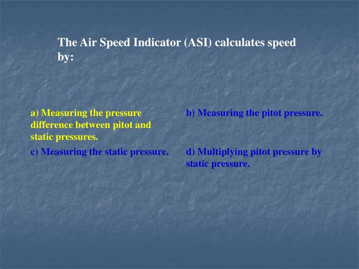 The Air Speed Indicator (ASI) calculates speed by: