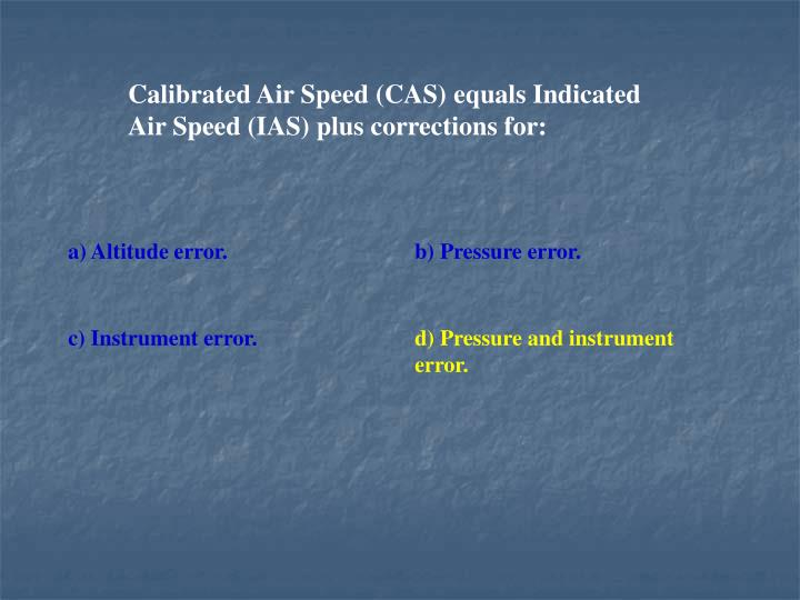 Calibrated Air Speed (CAS) equals Indicated Air Speed (IAS) plus corrections for: