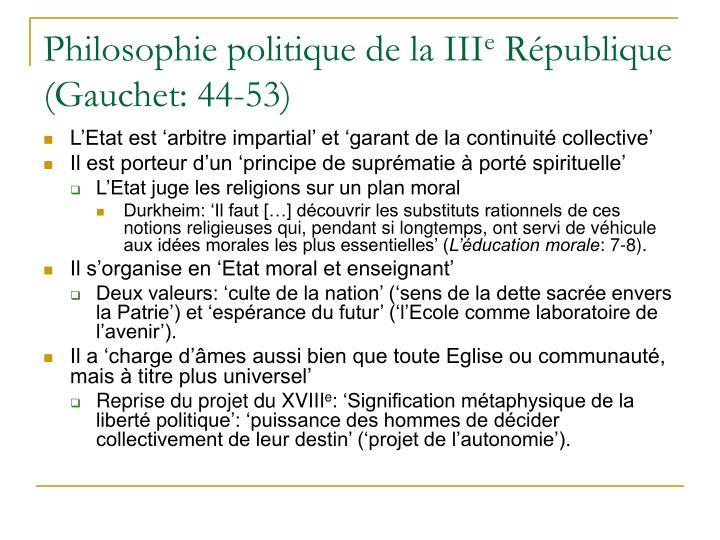 Philosophie politique de la III