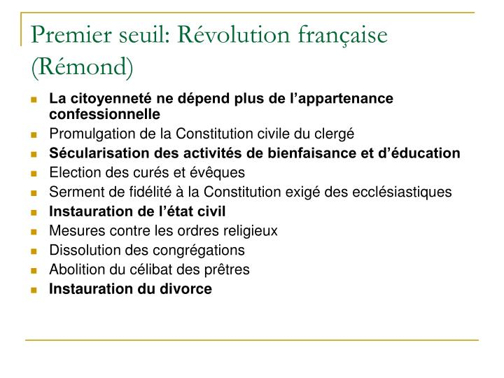 Premier seuil: Révolution française (Rémond)