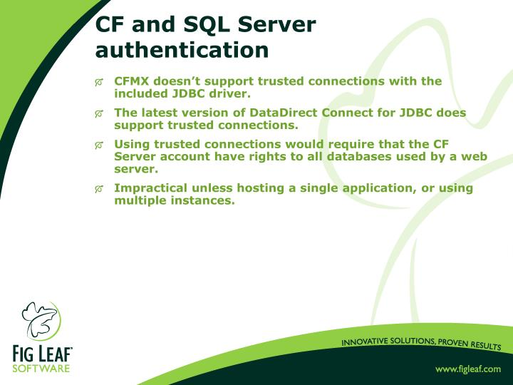 CF and SQL Server authentication