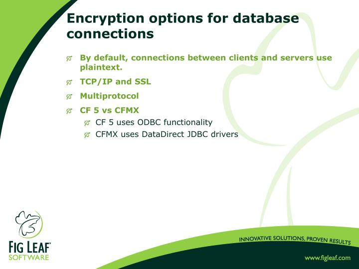 Encryption options for database connections