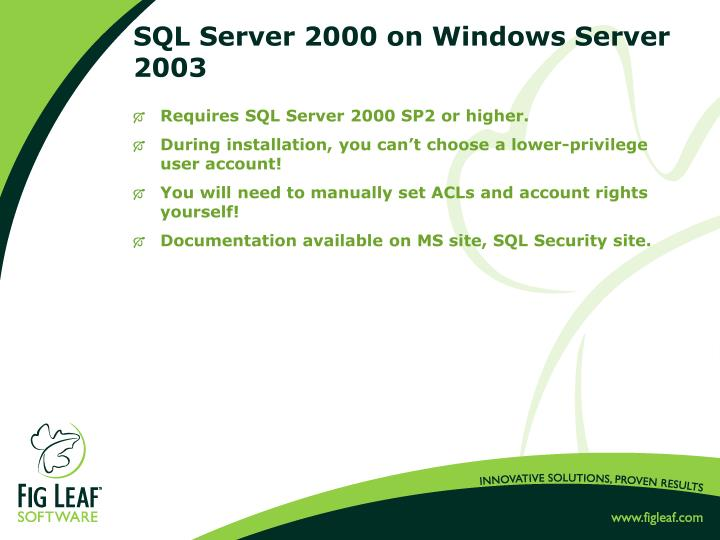 SQL Server 2000 on Windows Server 2003
