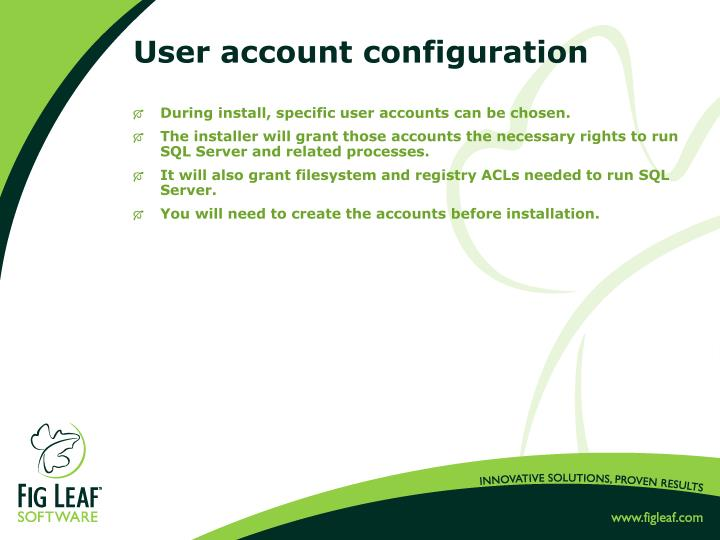 User account configuration