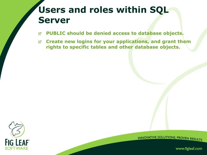 Users and roles within SQL Server