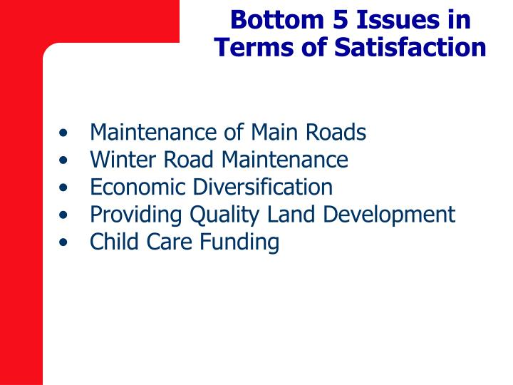 Bottom 5 Issues in Terms of Satisfaction
