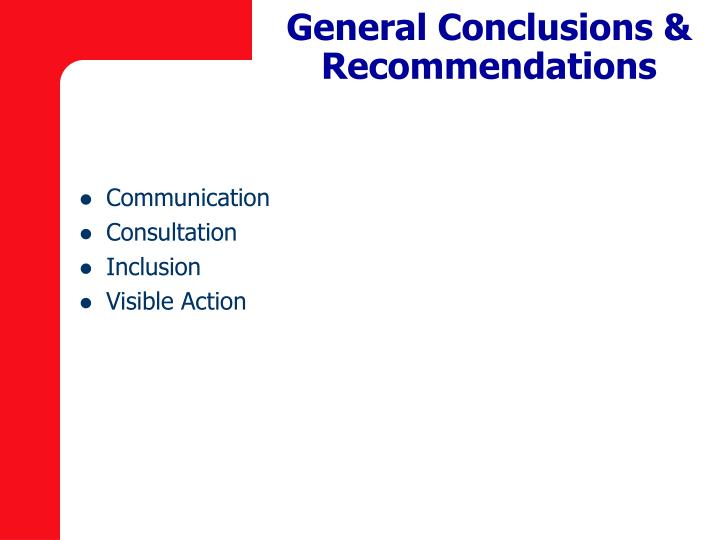 General Conclusions & Recommendations