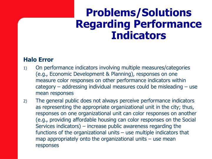 Problems/Solutions Regarding Performance Indicators