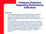 problems solutions regarding performance indicators