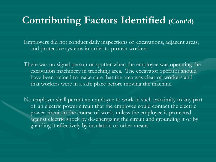 Contributing Factors Identified