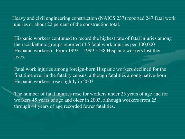Heavy and civil engineering construction (NAICS 237) reported 247 fatal work