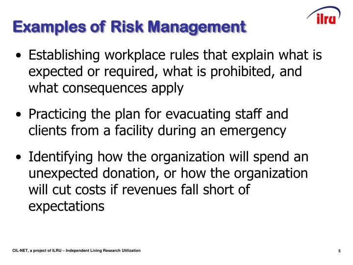 Examples of Risk Management