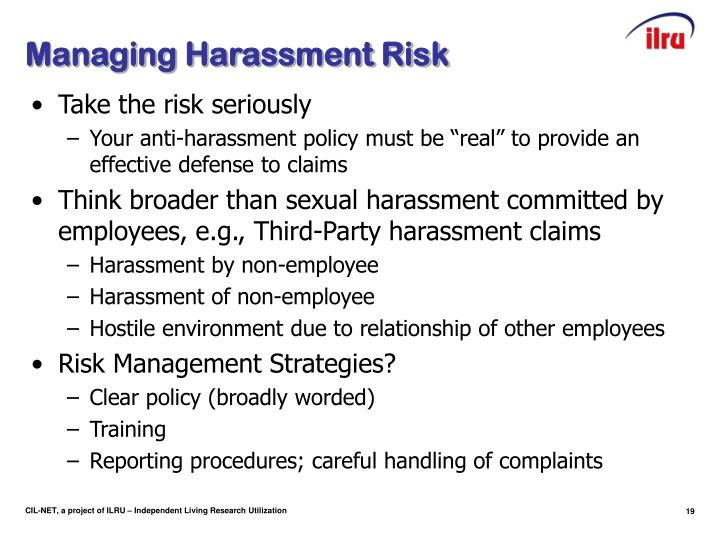 Managing Harassment Risk