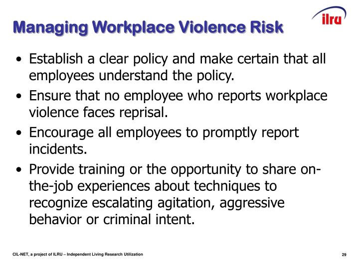 Managing Workplace Violence Risk