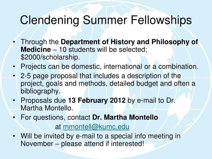 Clendening Summer Fellowships