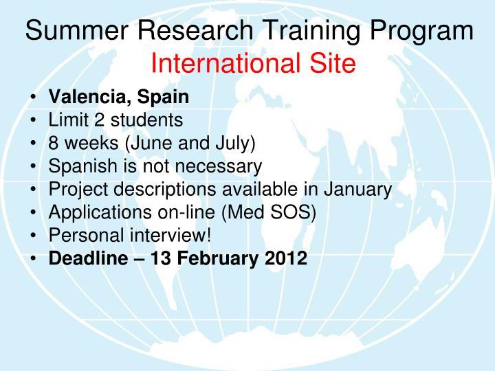 Summer Research Training Program