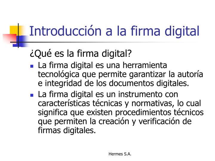 Introducción a la firma digital