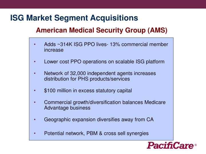 ISG Market Segment Acquisitions