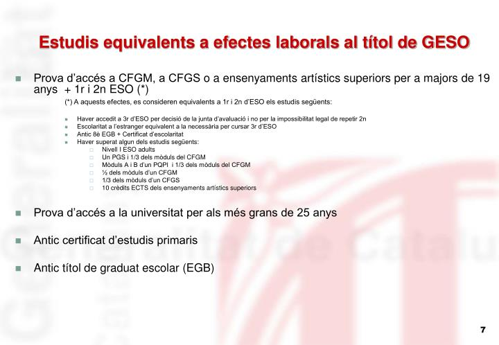 Estudis equivalents a efectes laborals al títol de GESO