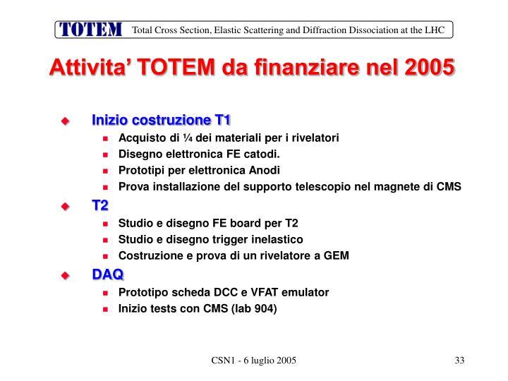 Attivita' TOTEM da finanziare nel 2005