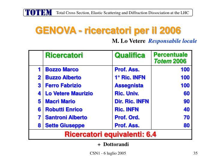 GENOVA - ricercatori per il 2006