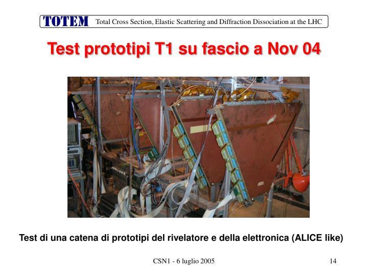 Test prototipi T1 su fascio a Nov 04