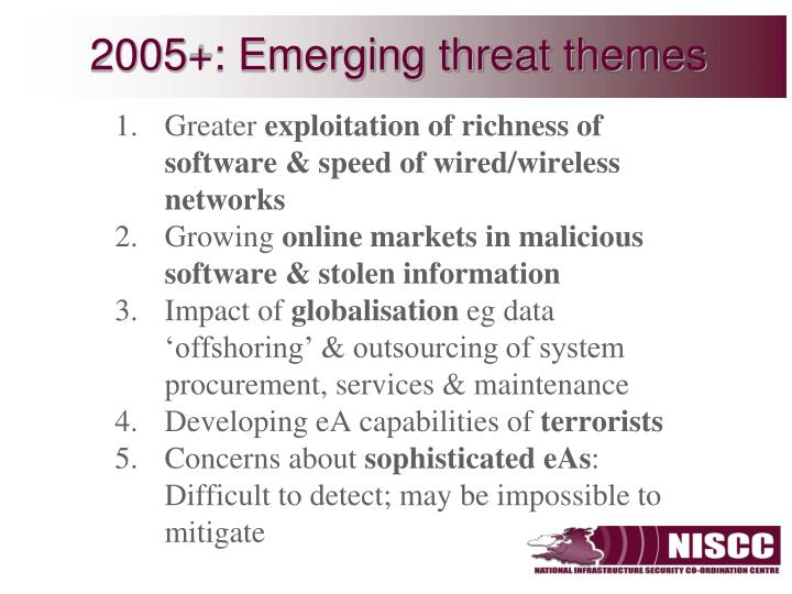 2005+: Emerging threat themes