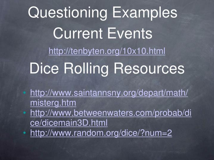 Questioning Examples