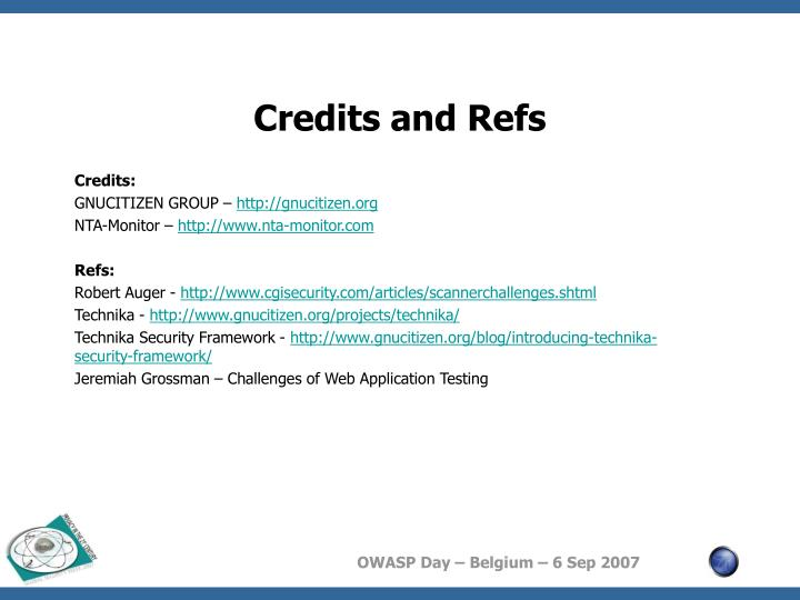 Credits and Refs