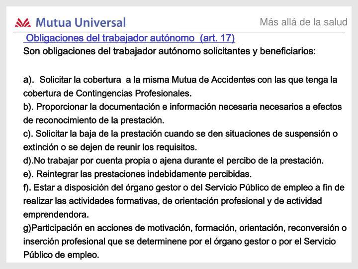Obligaciones del trabajador autónomo  (art. 17)