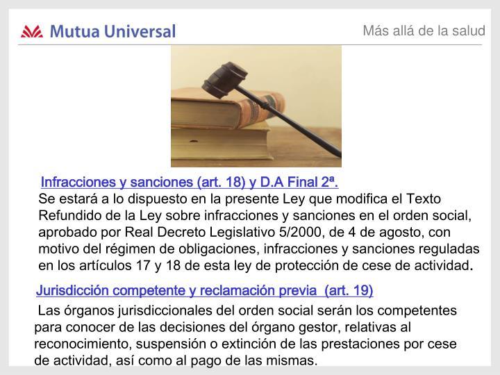 Infracciones y sanciones (art. 18) y D.A Final 2ª.