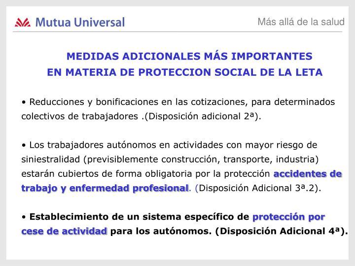 MEDIDAS ADICIONALES MÁS IMPORTANTES