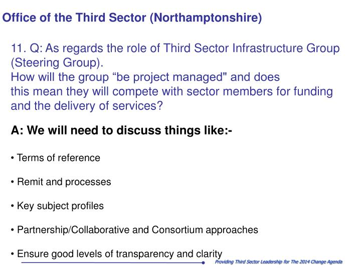 11. Q: As regards the role of Third Sector Infrastructure Group