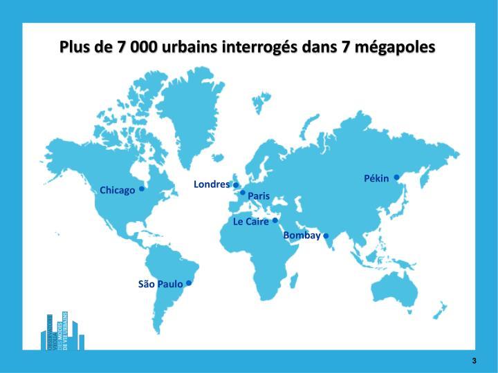 Plus de 7 000 urbains interrogés dans 7 mégapoles
