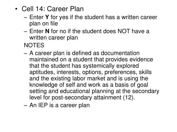 Cell 14: Career Plan