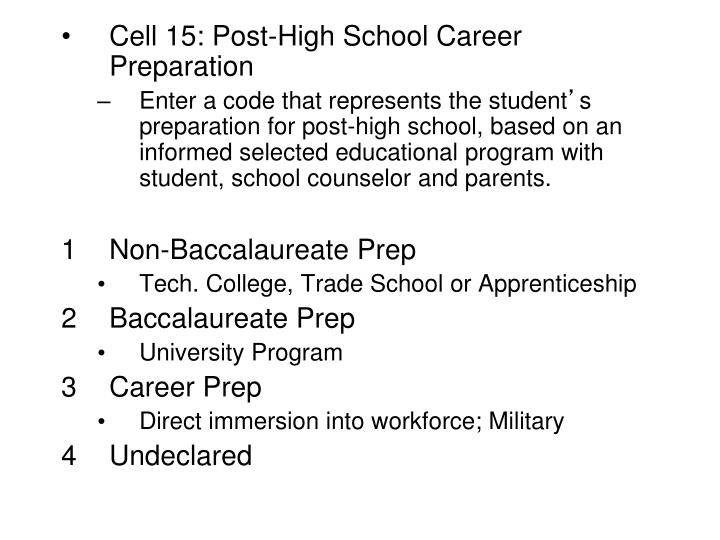 Cell 15: Post-High School Career Preparation