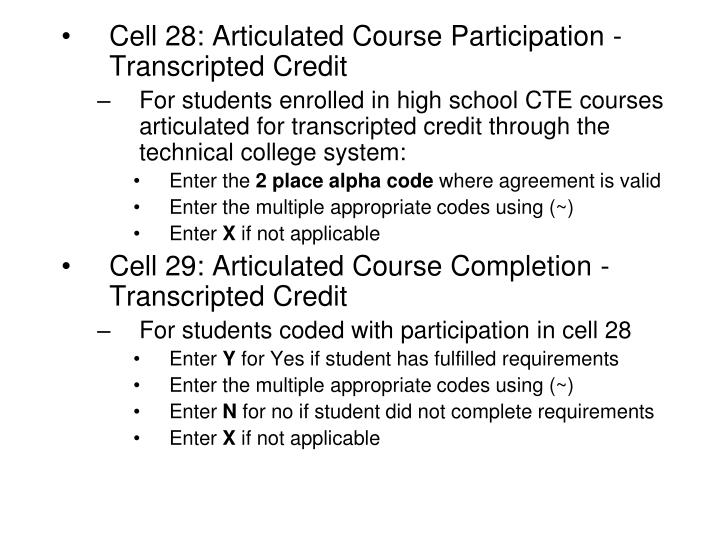 Cell 28: Articulated Course Participation - Transcripted Credit