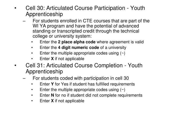 Cell 30: Articulated Course Participation - Youth Apprenticeship