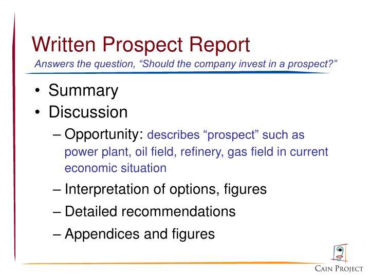 Written Prospect Report