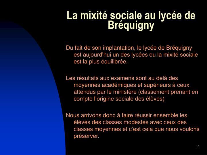 La mixité sociale au lycée de Bréquigny