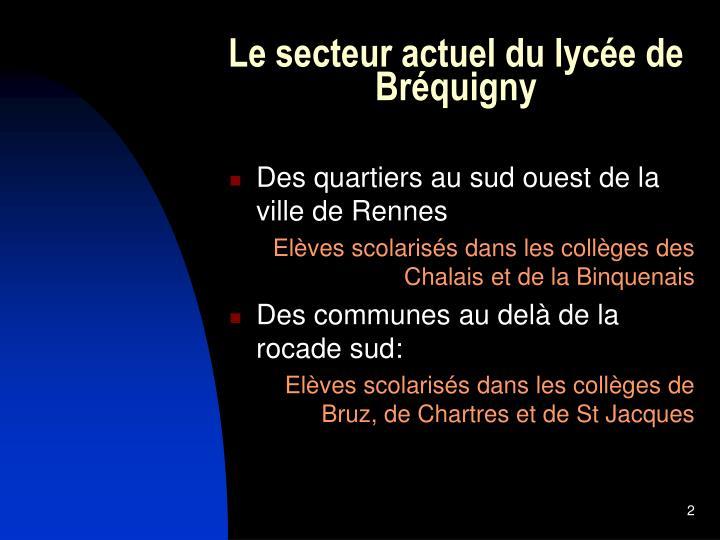 Le secteur actuel du lycée de Bréquigny