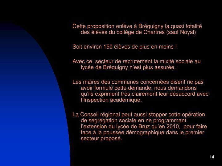 Cette proposition enlève à Bréquigny la quasi totalité des élèves du collège de Chartres (sauf Noyal)