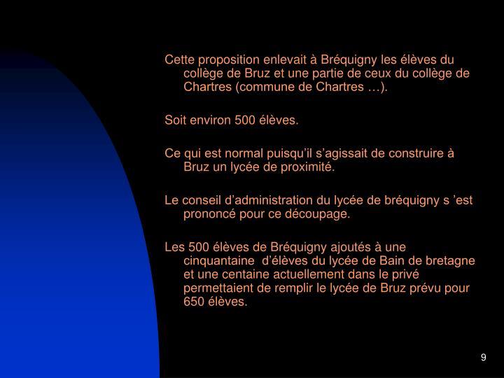 Cette proposition enlevait à Bréquigny les élèves du collège de Bruz et une partie de ceux du collège de Chartres (commune de Chartres …).