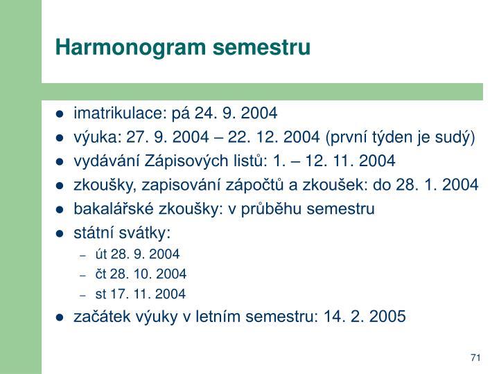 Harmonogram semestru