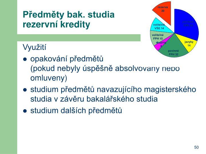 Předměty bak. studia